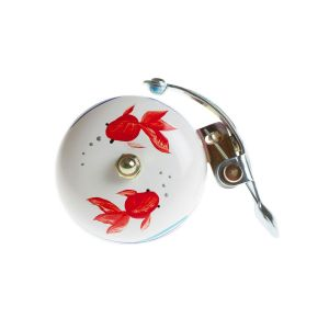 Crane Hand Painted Bell - White Koi