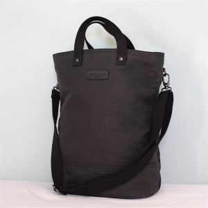 Hill & Ellis Dylan Black Canvas & Nickel Bag