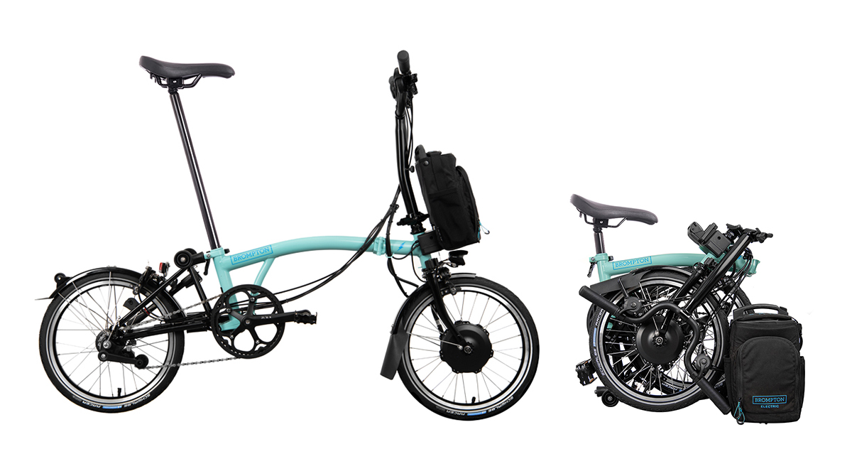 Brompton Electric bike unfolded and folded