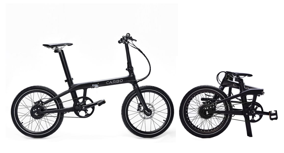 Carbo Model X electric bike folded and unfolded